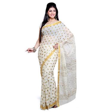 Ishin Cotton Saree - Cream