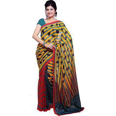 Pack of 2 Ishin Printed Georgette Sarees-Combo-195
