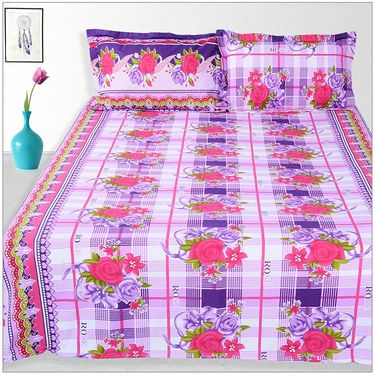 Ahem Homes Cotton 2 Double Bedsheet With 4 Pillow Cover-JC1209