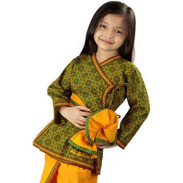 Little India Jaipuri Bandhej Dhoti Angarkha - Green & Yellow