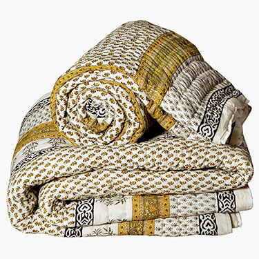 Little India Designer Printed Cotton Double and Single Bed Quilt Set - White