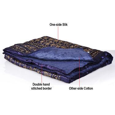 Jaipuri Silk Razai with Gold Prints - Brown or Black or Blue