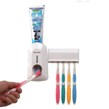 Kawachi Automatic Toothpaste Dispenser & Brush Holder