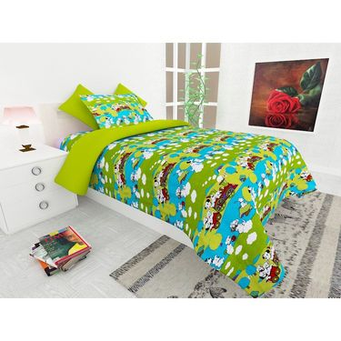 Storyathome 100% Cotton Kids Single Bedsheet with 1 Pillow Cover-KZ1412