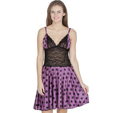 Klamotten Satin Plain Nightwear - Purple - X07_Pol_Prpl