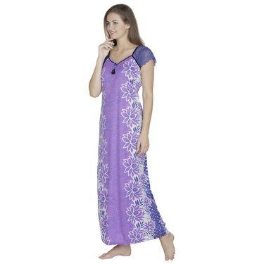 Klamotten Cotton Plain Nighty - Purple - X108_Flw_Prpl