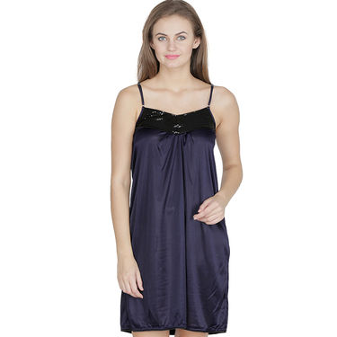 Klamotten Satin Plain Nightwear - Dark Blue - X151_Navy