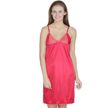 Klamotten Satin Plain Nightwear - Red - X63_Red