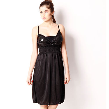 Klamotten Satin Plain Nightwear - Black - YY156