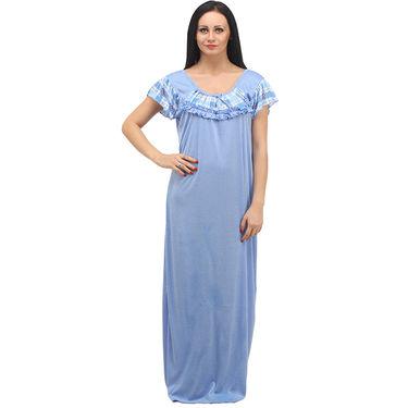 Klamotten Cotton Plain Nightwear - Blue - YY23