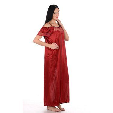 Klamotten Satin Plain Nightwear - Maroon - YY49