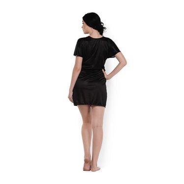 Klamotten Satin Plain Robe - Black - YY81
