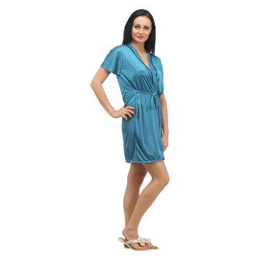 Klamotten Satin Plain Robe - Blue - YY94