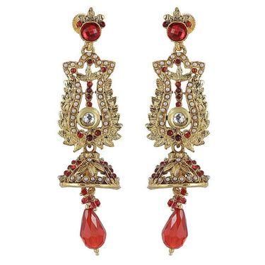 Kriaa Austrian Stone Pearl Kundan Earrings - Red _ 1301909