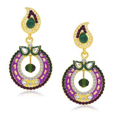 Kriaa Austrian Stone Gold Plated Earrings  - Green & Purple _ 1304614