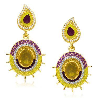 Kriaa Austrian Diamond Gold Finish Earrings - Purple & Yellow _ 1304636