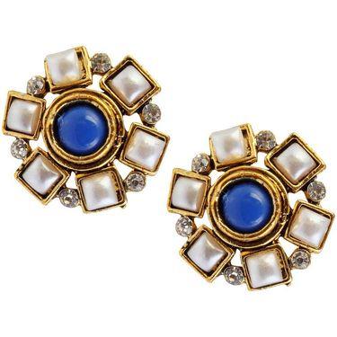 Kriaa Austrian Stone Pearl Gold Finish Earrings - Blue _ 1304915