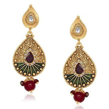 Kriaa Antique Gold Finish Kundan Earrings - Red & Green _ 1305525