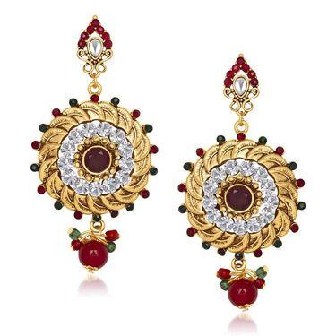 Kriaa Antique Kundan Earrings - Red & Green _ 1305539