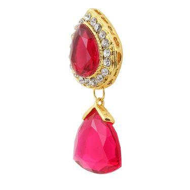 Kriaa Austrian Stone Pearl Gold Finish Dangle Earrings - Pink _ 1305805