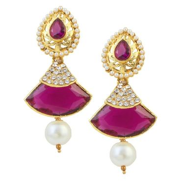 Kriaa Austrian Stone Pearl Gold Finish Dangle Earrings - Purple _ 1305807