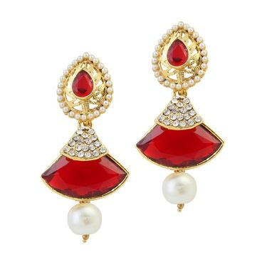 Kriaa Austrian Stone Pearl Gold Finish Dangle Earrings - Red _ 1305808