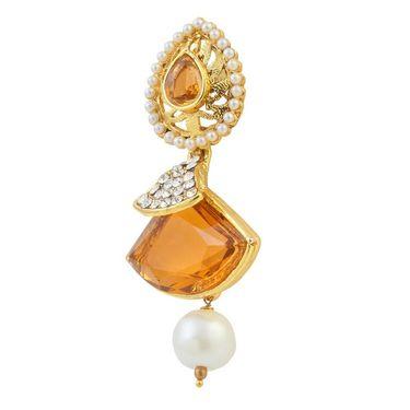 Kriaa Austrian Stone Pearl Gold Finish Dangle Earrings - Brown _ 1305812