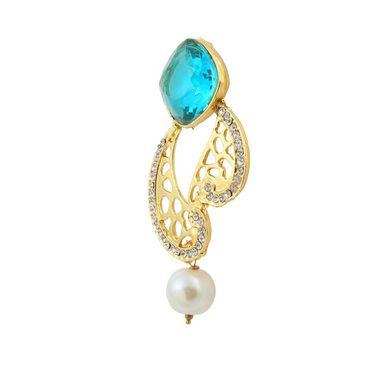 Kriaa Austrian Stone Pearl Drop Gold Finish Blue Earrings - Blue _ 1305819