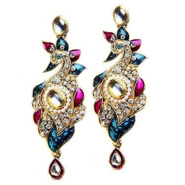 Kriaa Austrian Stone Peacock Design Meenakari Earrings - Blue & Purple _ 1300107