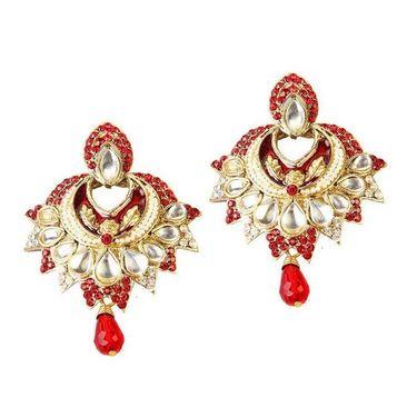 Kriaa Austrian Stone Kundan Meenakari Earrings - Red _ 1300118