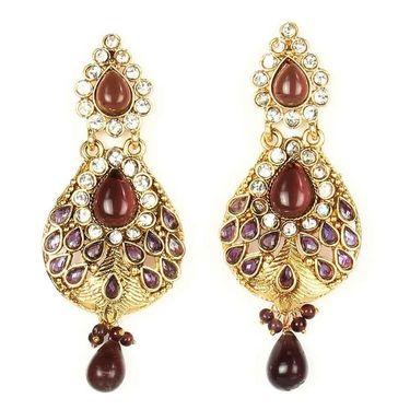 Kriaa Austrian Stone Drop Earrings - Purple _ 1300427