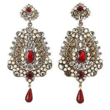 Kriaa Kundan Austrian Stone Drop Earrings - Red _ 1301016