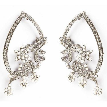 Kriaa Floral Austrian Diamond Earrings - White _ 1301324