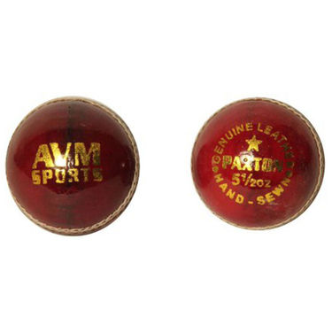 AVM Paxton Pack Of 2 Red Leather Cricket Ball - Dia 14 cm