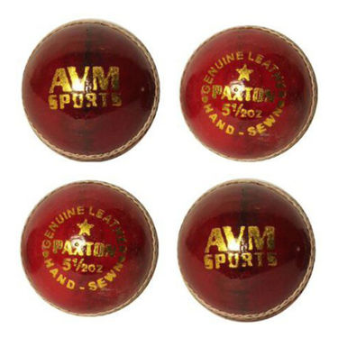 AVM Paxton Pack Of 4 Red Leather Cricket Ball - Dia 28 cm