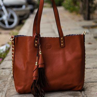 Arisha Orange & Brown Handbag -LB 385