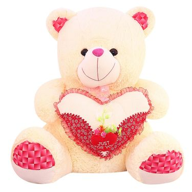 Valentine Stuff Heart Teddy Bear 60 cm - Cream