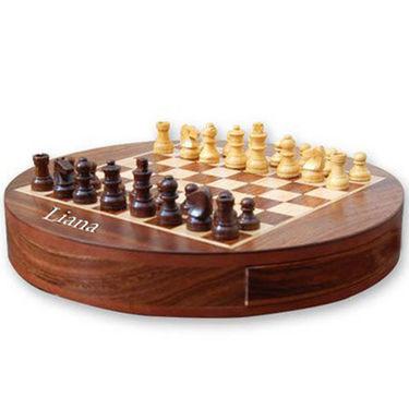 Liana Premium Magnetic 9 Inch Round Chess - Brown