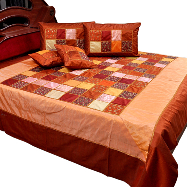 Little India Double Bedcover with 2 Cushion Cover and 2 Pillow Cover - Multicolor- DLI3SLK344