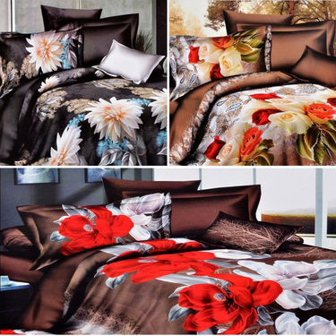 Set of 3 4D Printed Double Bed Sheet With 6 Pillow Cover -M-005_017_018