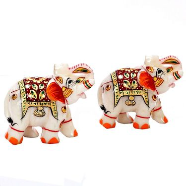 Marble Hand Painted Elephant- Set of 2-MAR15345