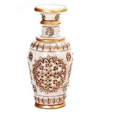 Floral Handpainted Marble Decorative Vase-MAR15348