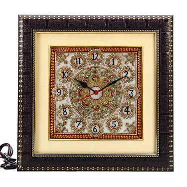 Pure White Marble Wall Clock with Handpainted motifs-MAR15380