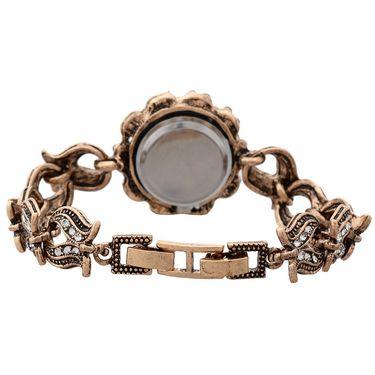 Branded Round Dial Bracelet Diamond Wrist Watch_Mgw09 - Black