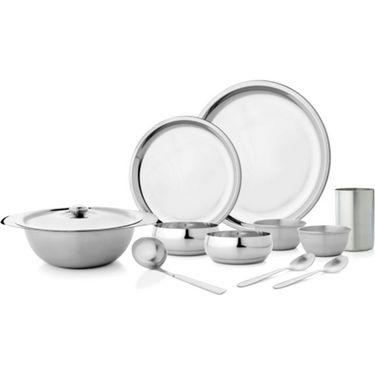 Mosaic Deluxe 51Pcs Dinner Set - Silver