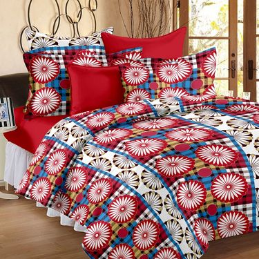 Storyathome 100% Cotton Double Bedsheet With 2 Pillow Cover-MP1216