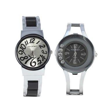 Pack of 2 Mayhem Analog Round Dial Watches_Ma2917 - Black & Grey