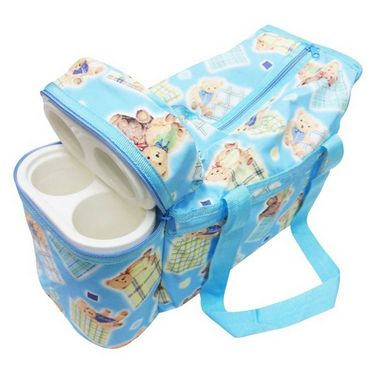 Ole Baby Premium Teddy Diaper Bag With Warmer Cyan_OB-DBWW-B050