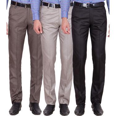 Tiger Grid Pack of 3 Cotton Formal Trouser For Men_Md038