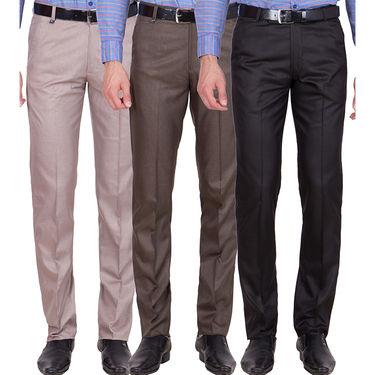 Tiger Grid Pack of 3 Cotton Formal Trouser For Men_Md046
